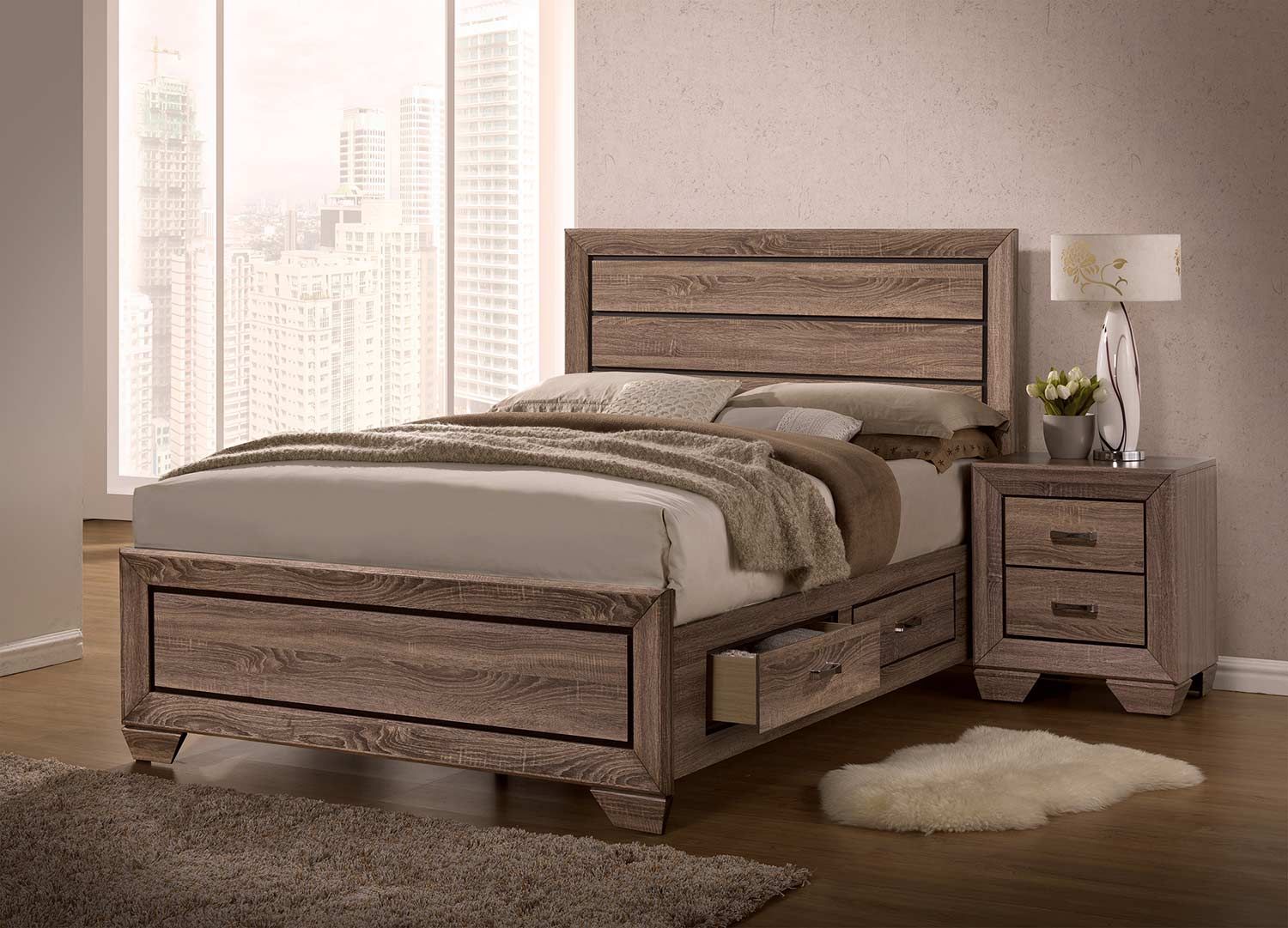 Coaster Kauffman Storage Platform Bedroom Set - Washed Taupe