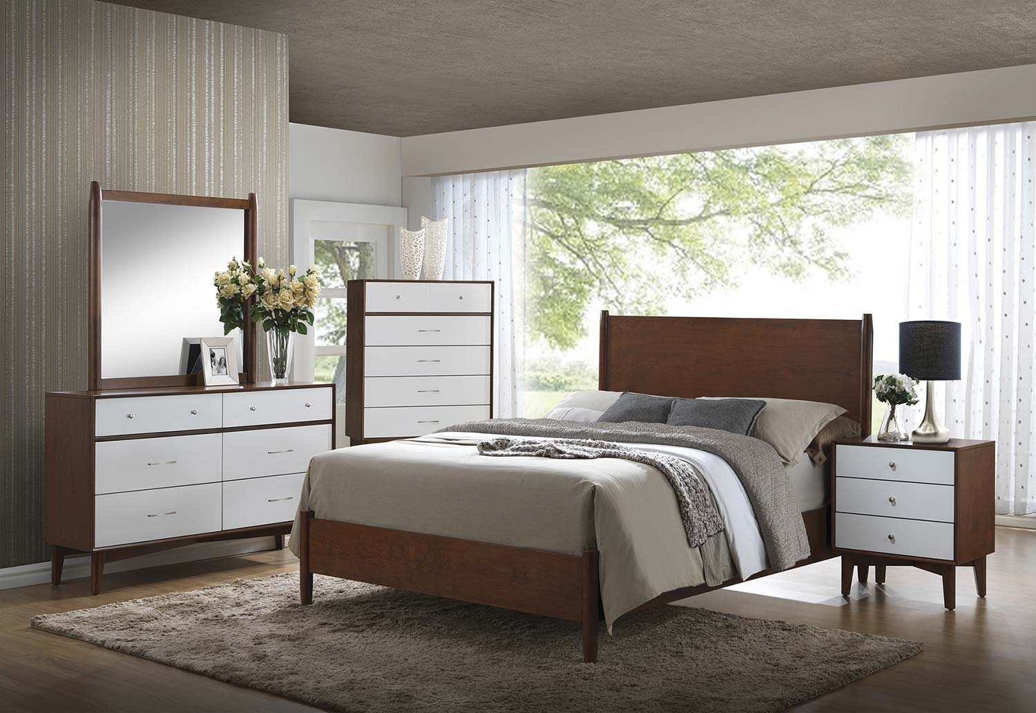 Coaster Oakwood Bedroom Set - Golden Brown/White
