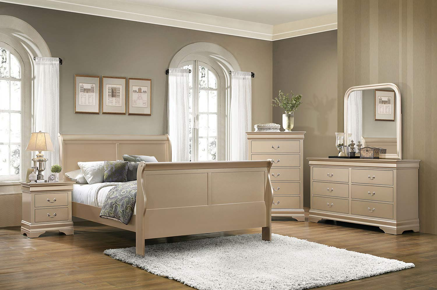 Coaster Hershel Louis Philippe Bedroom Collection - Metallic Champagne