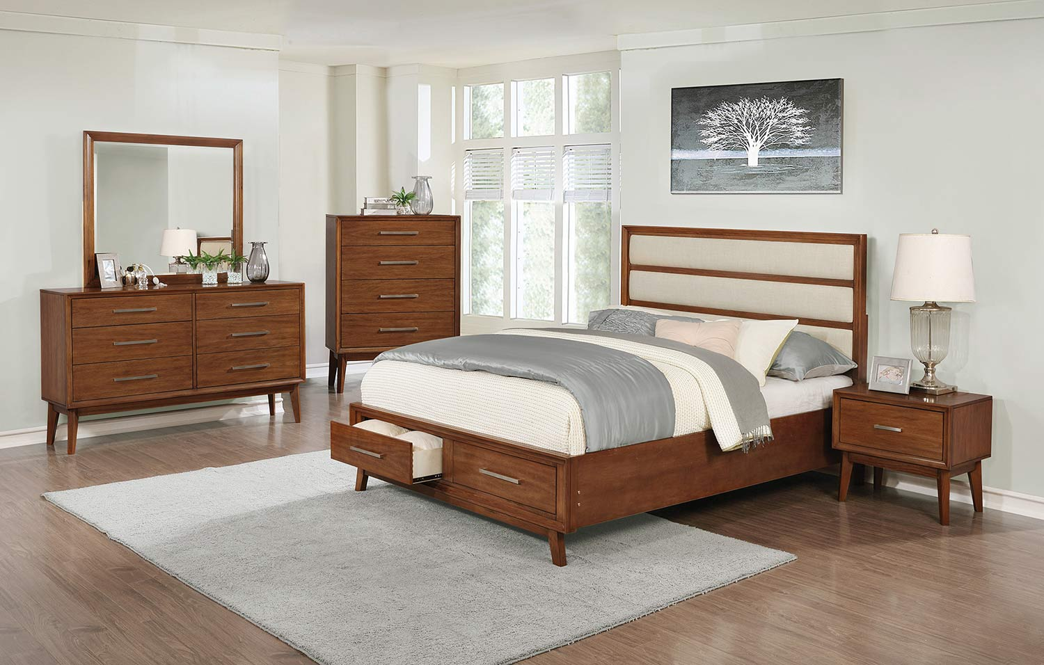 Coaster Banning Bedroom Set - Cream Leatherette