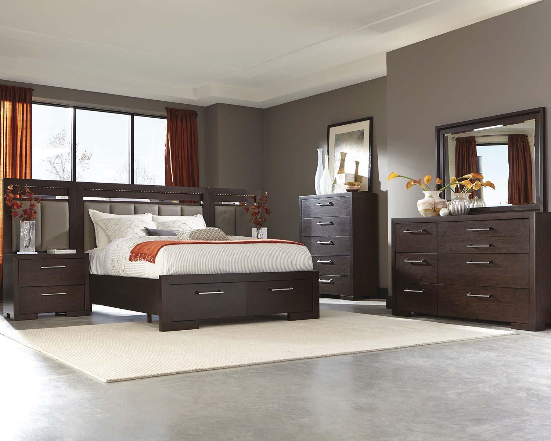 Coaster berkshire lighted platform storage bedroom set for Lighted platform bed
