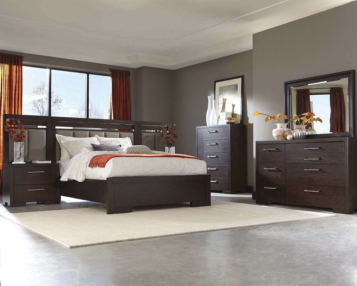 Coaster Berkshire Lighted Panel Bedroom Set - Bitter Chocolate