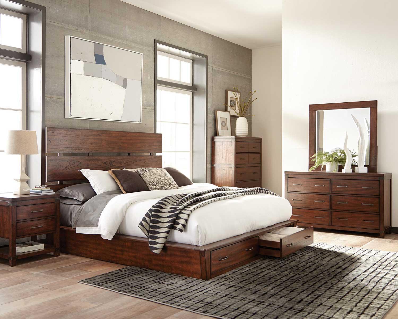 Coaster Artesia Platform Storage Bedroom Set A - Dark Cocoa