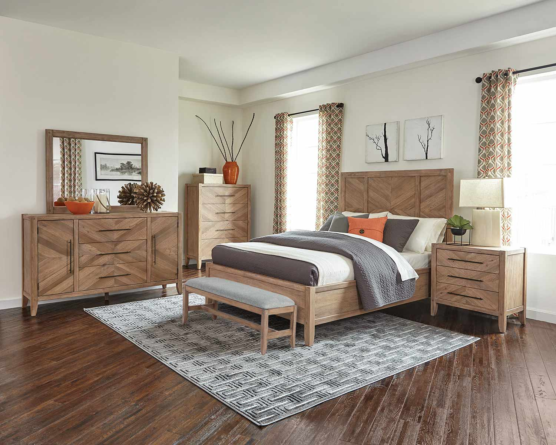 Coaster Auburn Bedroom Set - White Washed Natural