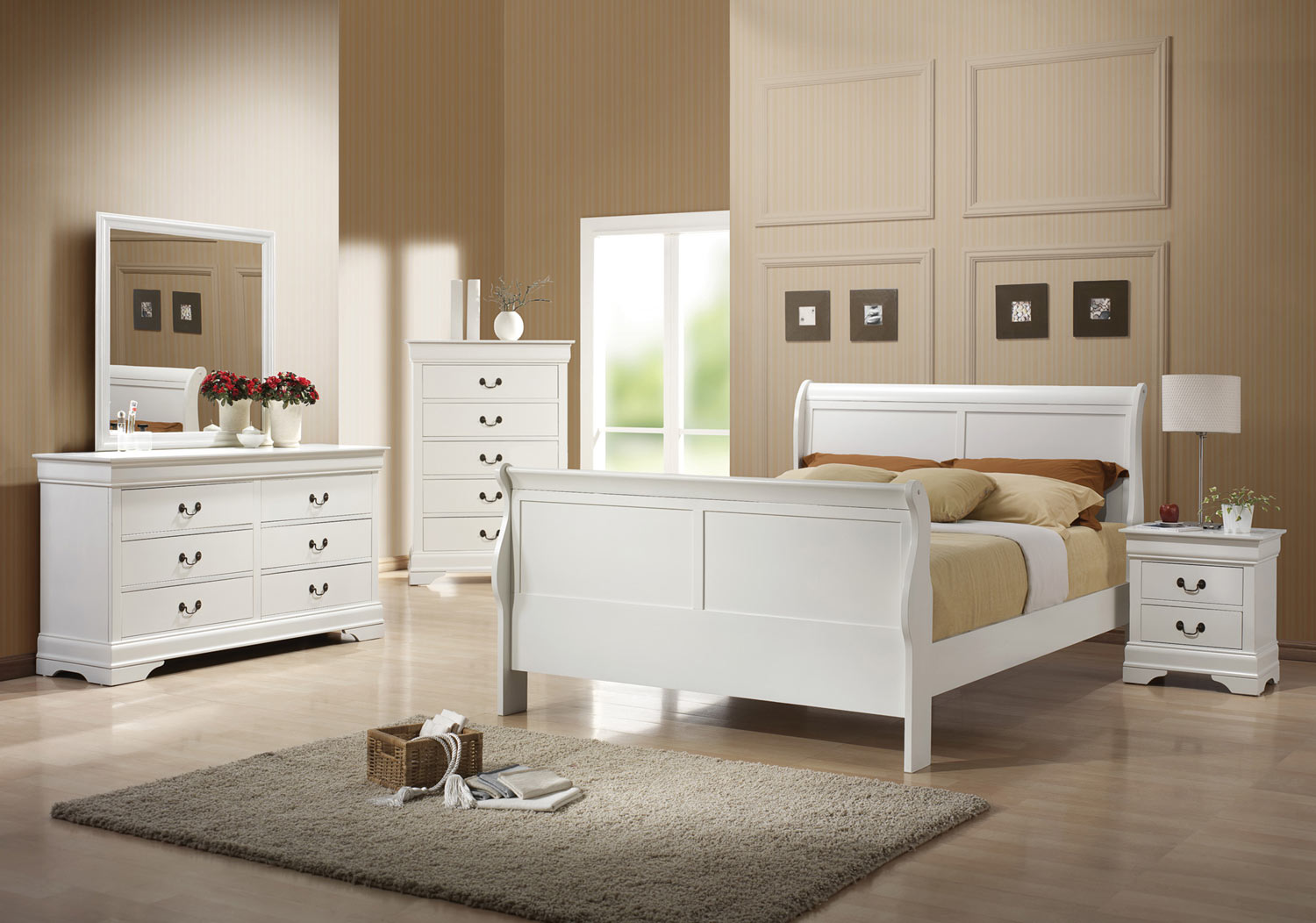 Coaster Louis Philippe Bedroom Collection White Bed Set at Homelemen
