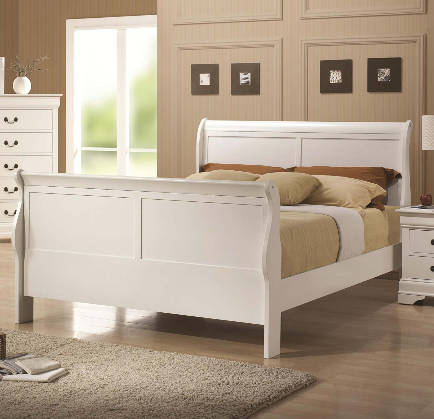 Coaster Louis Philippe Bed - White
