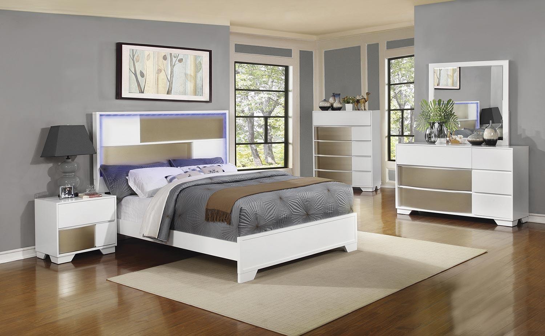 Coaster Havering Lighted Platform Bedroom Set - Blanco/Sterling