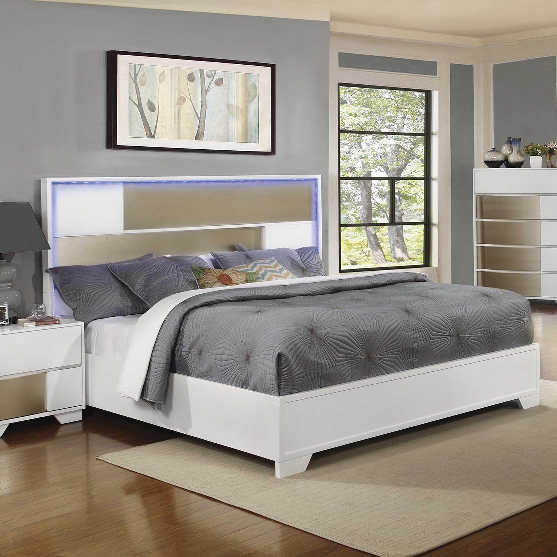 Coaster havering lighted platform bed blanco sterling for Lighted platform bed