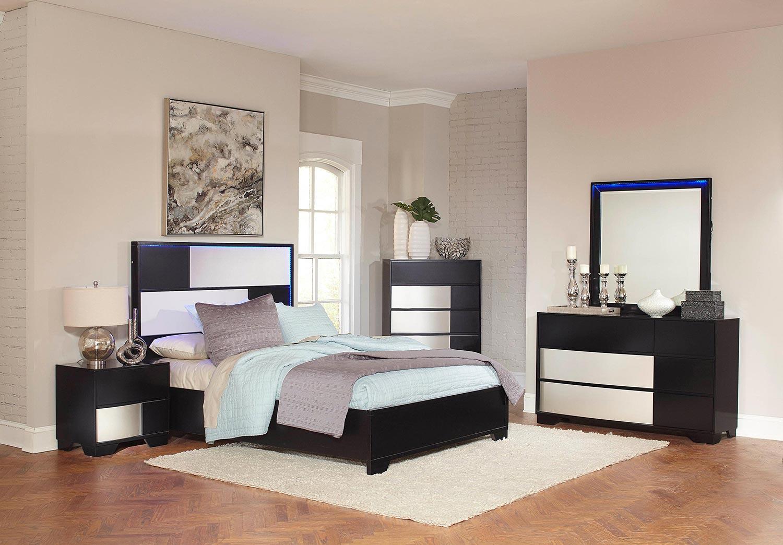 Coaster Havering Platform Low Profile Bedroom Set - Black/Sterling