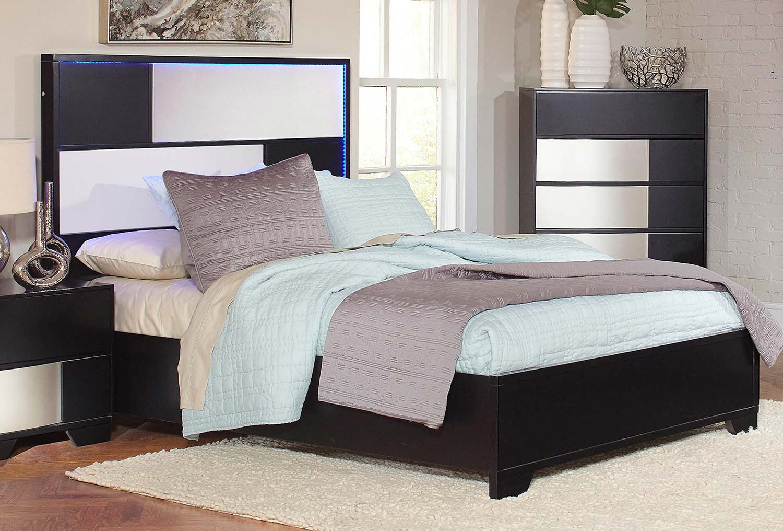 Coaster Havering Platform Low Profile Bed - Black/Sterling