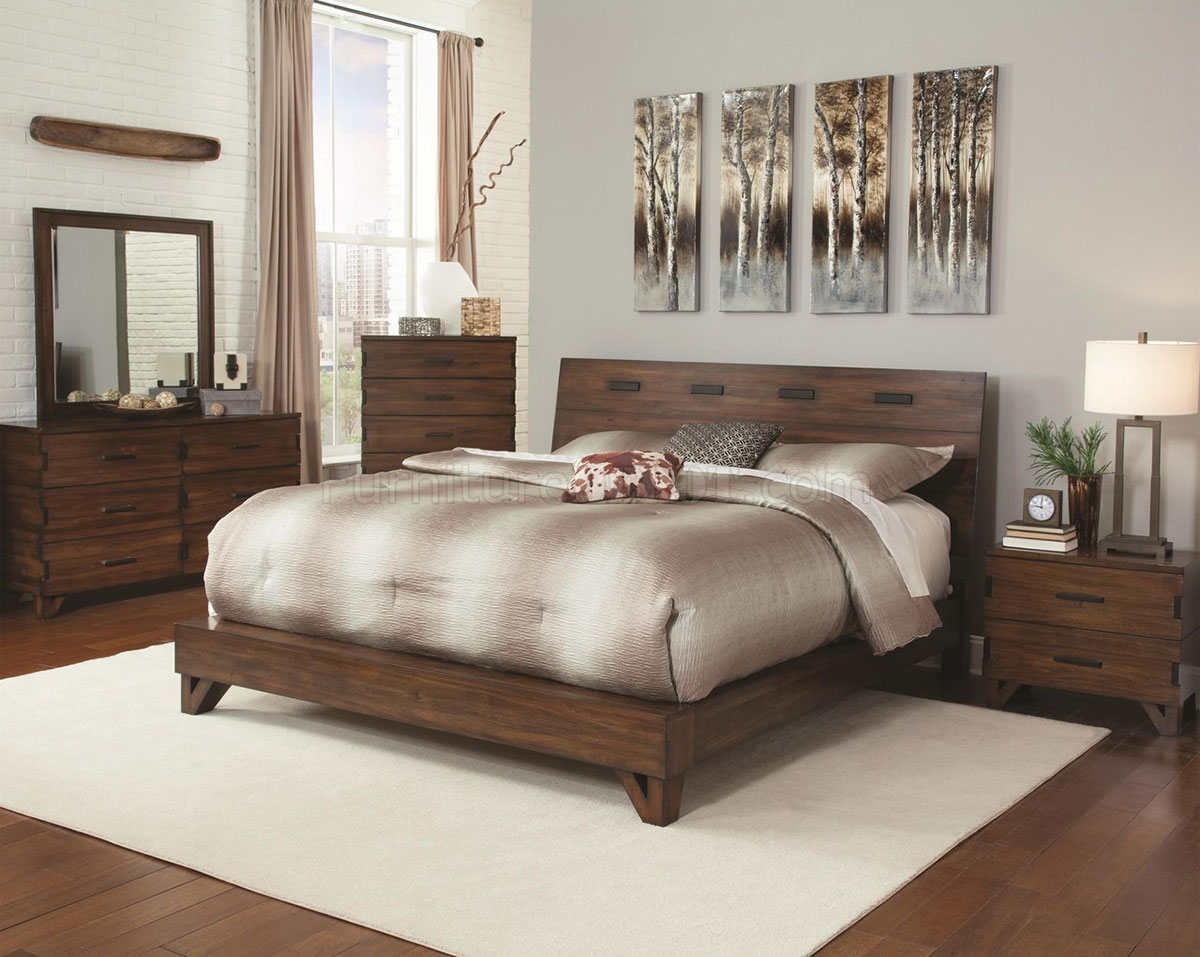 Coaster Yorkshire Platform Bedroom Set - Dark Amber/Coffee Bean