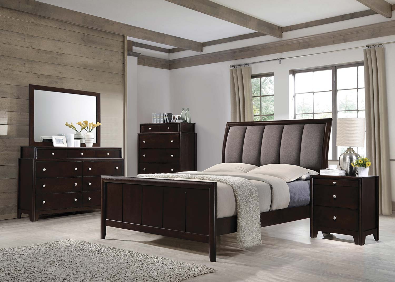 Coaster madison upholstered bedroom set dark merlot for Bedroom furniture for less