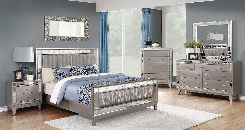 Coaster Leighton Upholstered Mirrored Bedroom Set - Metallic Mercury
