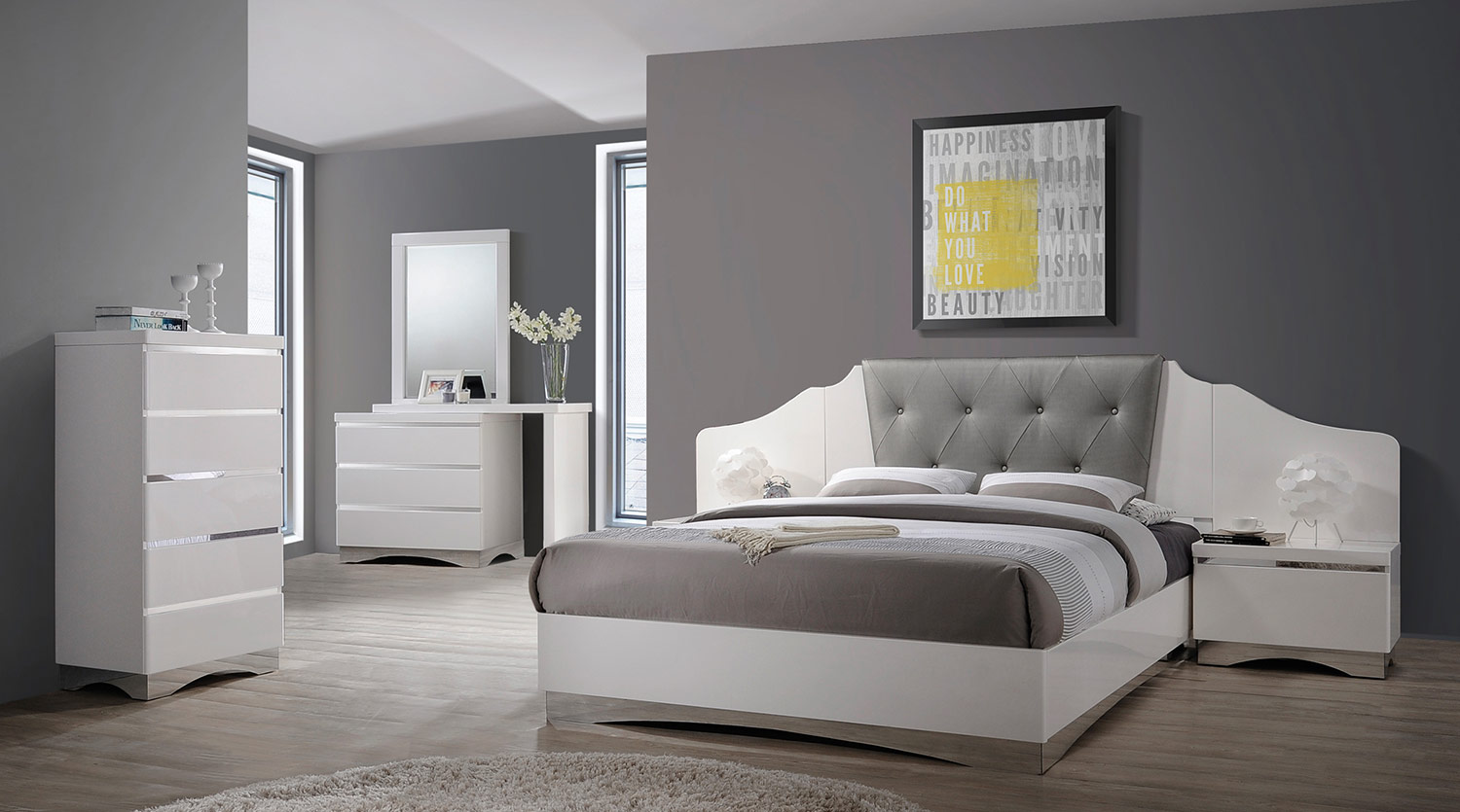 Coaster Alessandro Upholstered Bedroom Set - Glossy White