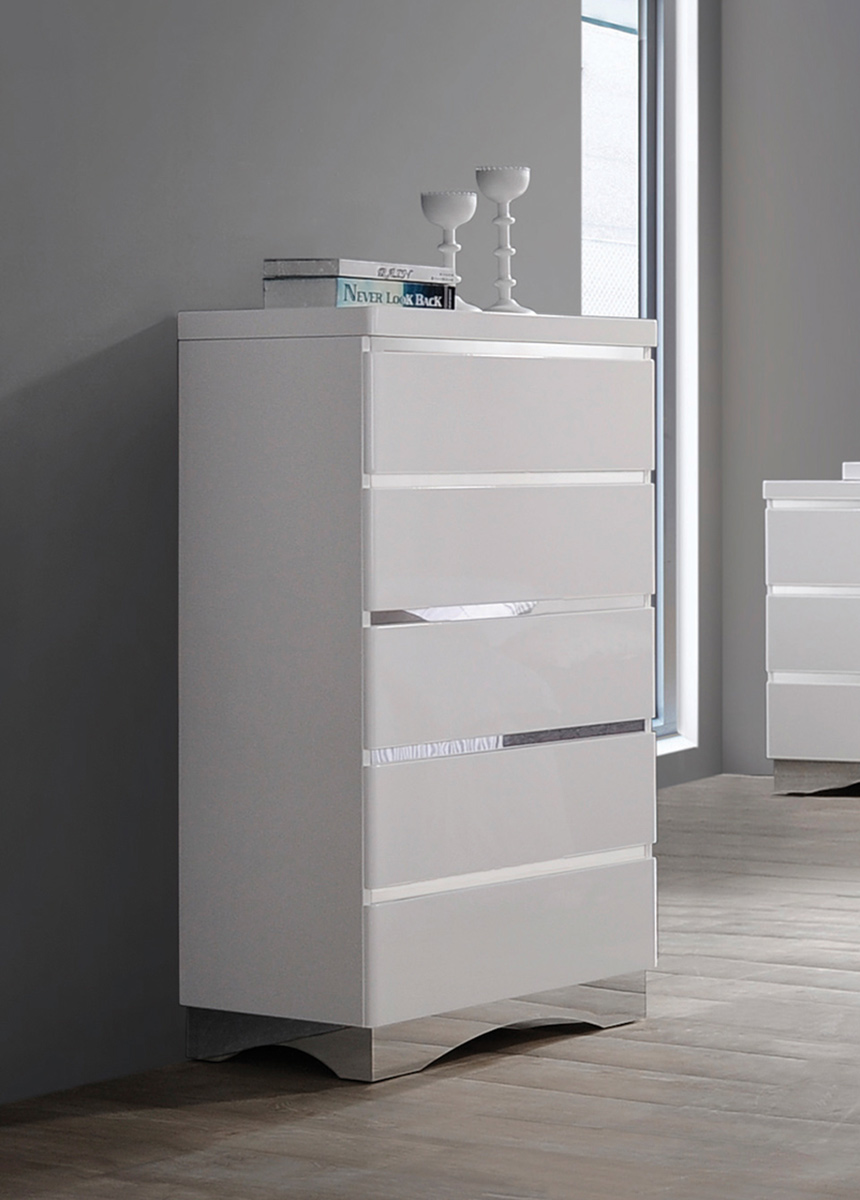 Coaster Alessandro Chest - Glossy White