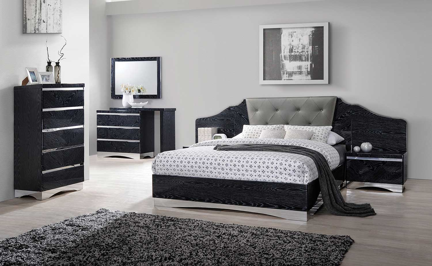coaster alessandro upholstered bedroom set glossy black 205021 bedroom set at. Black Bedroom Furniture Sets. Home Design Ideas
