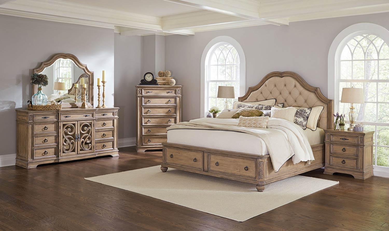Coaster Ilana Upholstered Platform Storage Bedroom Set - Antique Linen