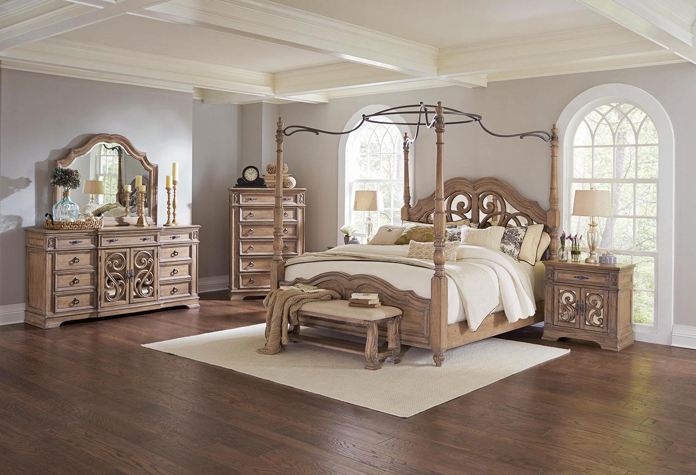 Coaster Ilana Canopy Bedroom Set - Antique Linen