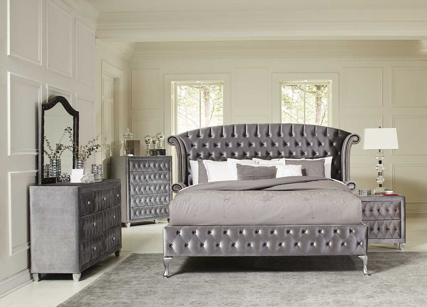 Coaster Deanna Upholstered Bedroom Collection - Silver Metallic - Grey Velvet