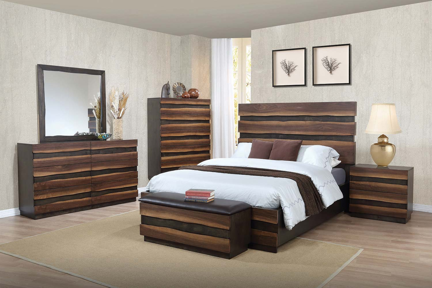 walnut bedroom furniture coaster octavia bedroom collection coffee sappy walnut 13785