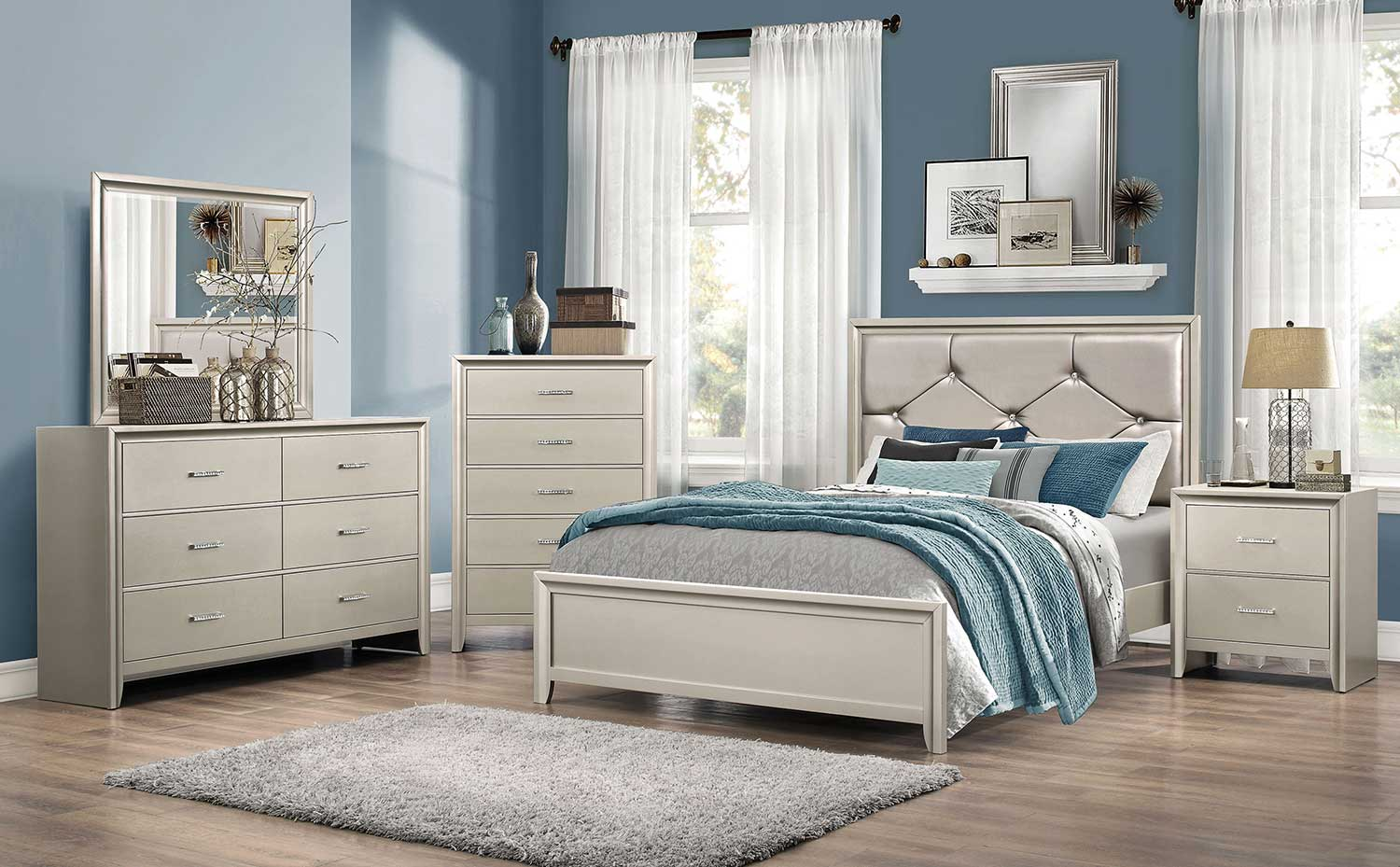 Coaster Lana Upholstered Bedroom Set Silver BEDROOM SET at Homelemen