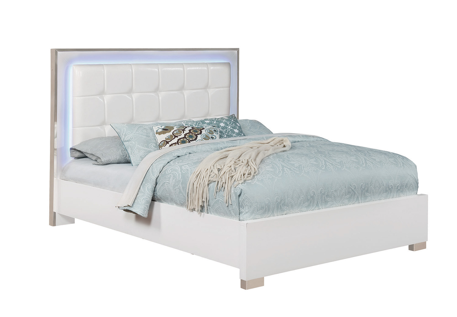 Coaster Traynor Upholstered Platform Bed With Led Lighting