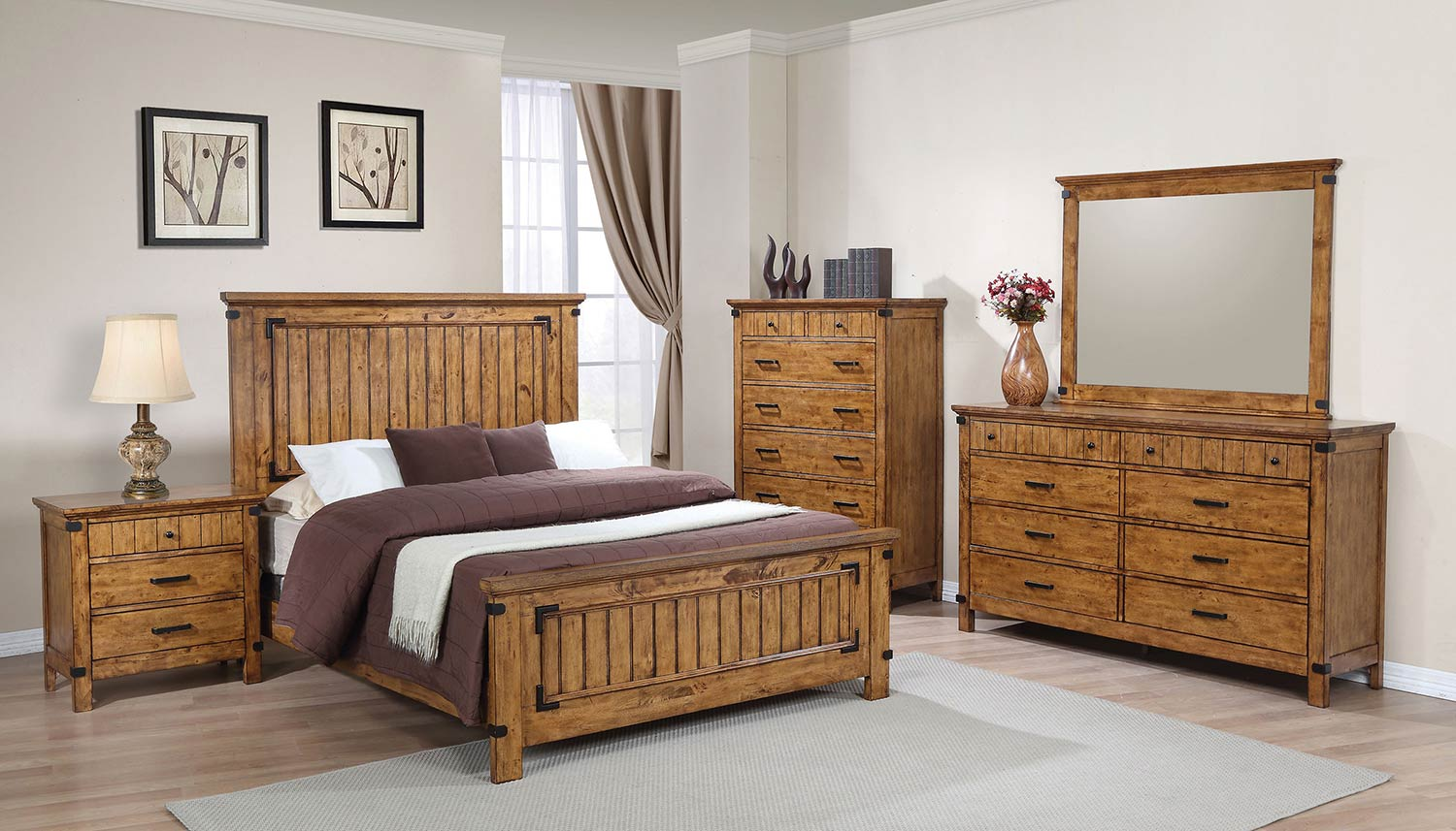 Coaster Brenner Bedroom Set - Rustic Honey