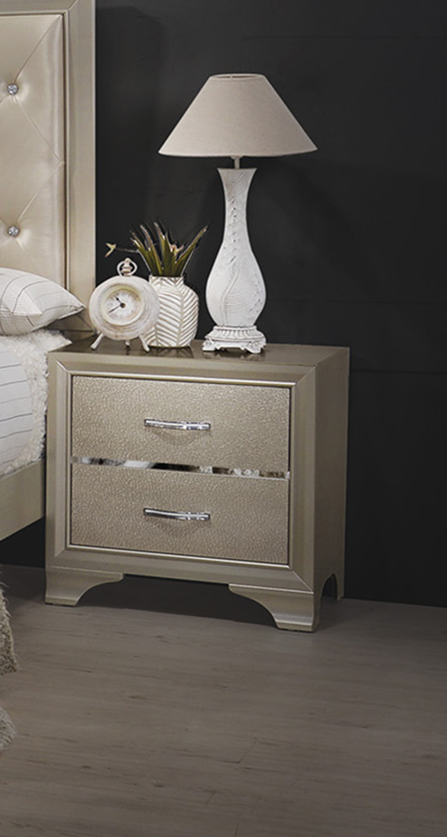 Coaster Beaumont Nightstand - Champagne Gold Leatherette