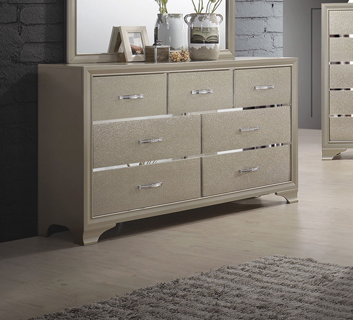 Coaster Beaumont Dresser - Champagne Gold Leatherette