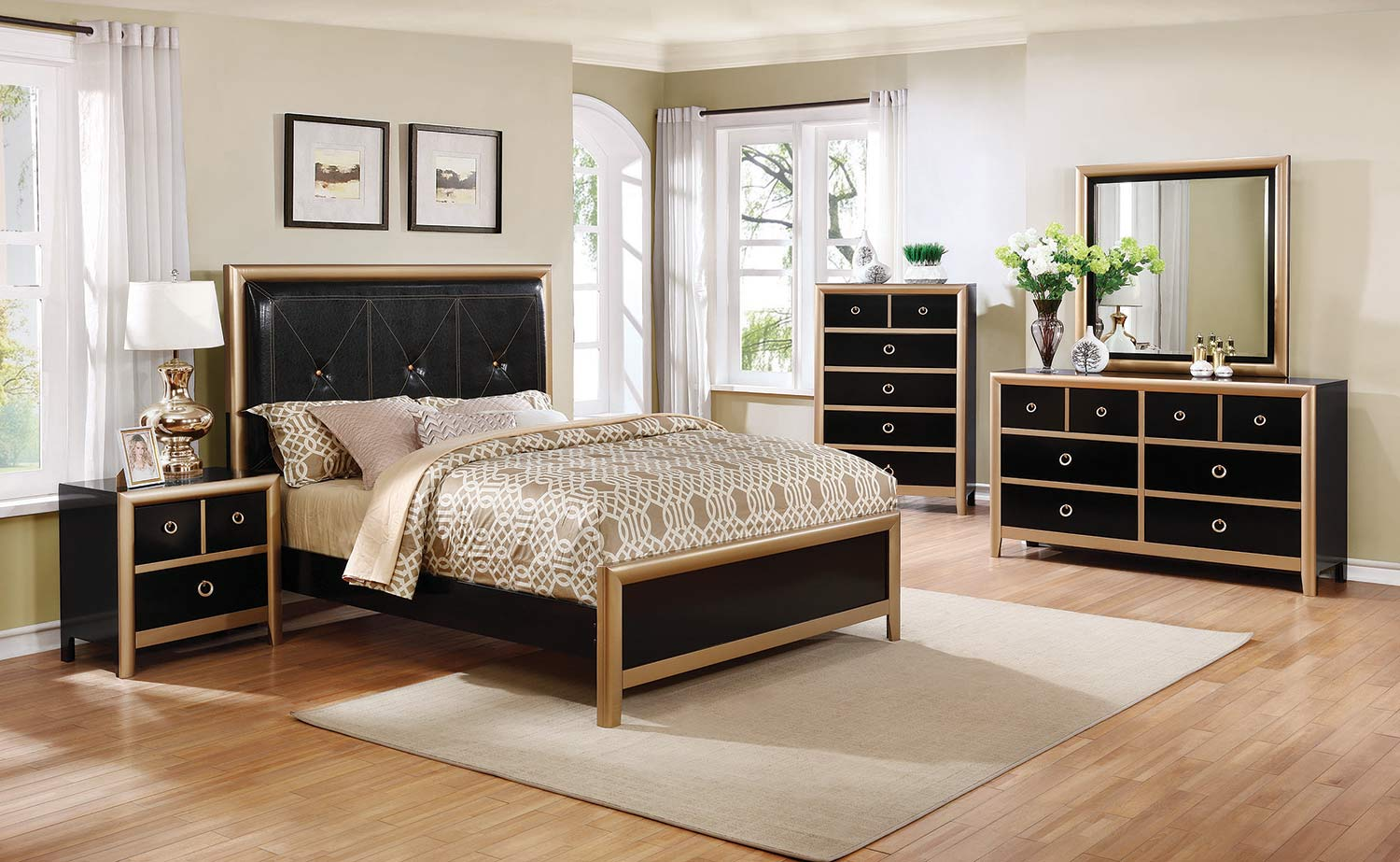 Coaster Zovatto Bedroom Collection - Black/Gold - Black Leatherette