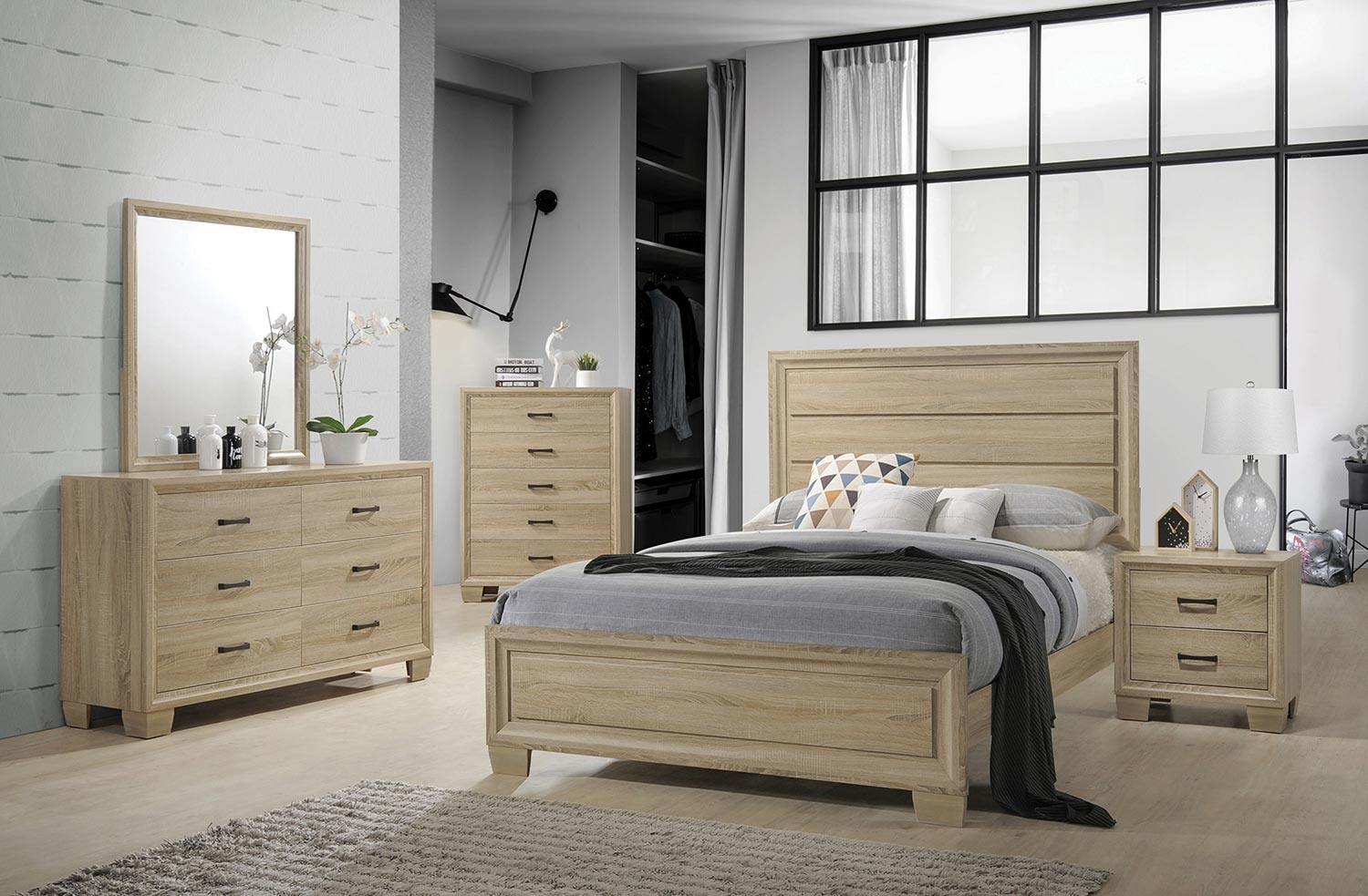 Coaster Vernon Bedroom Set - White Washed Oak