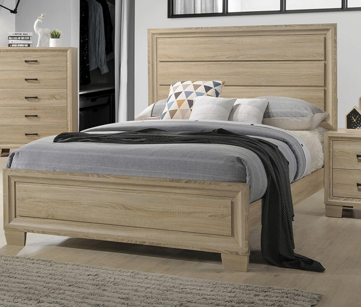 Coaster Vernon Bed - White Washed Oak