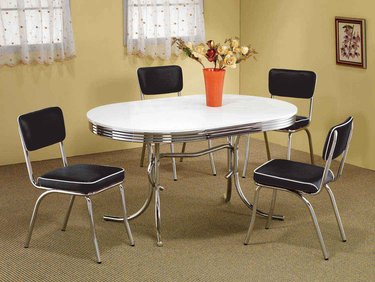 Coaster Mix & Match Oval Retro Dining Set - Black Chair
