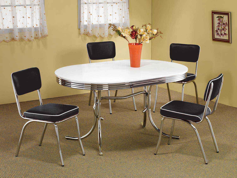 Coaster Mix & Match Oval Retro Dining Set - Black Chair
