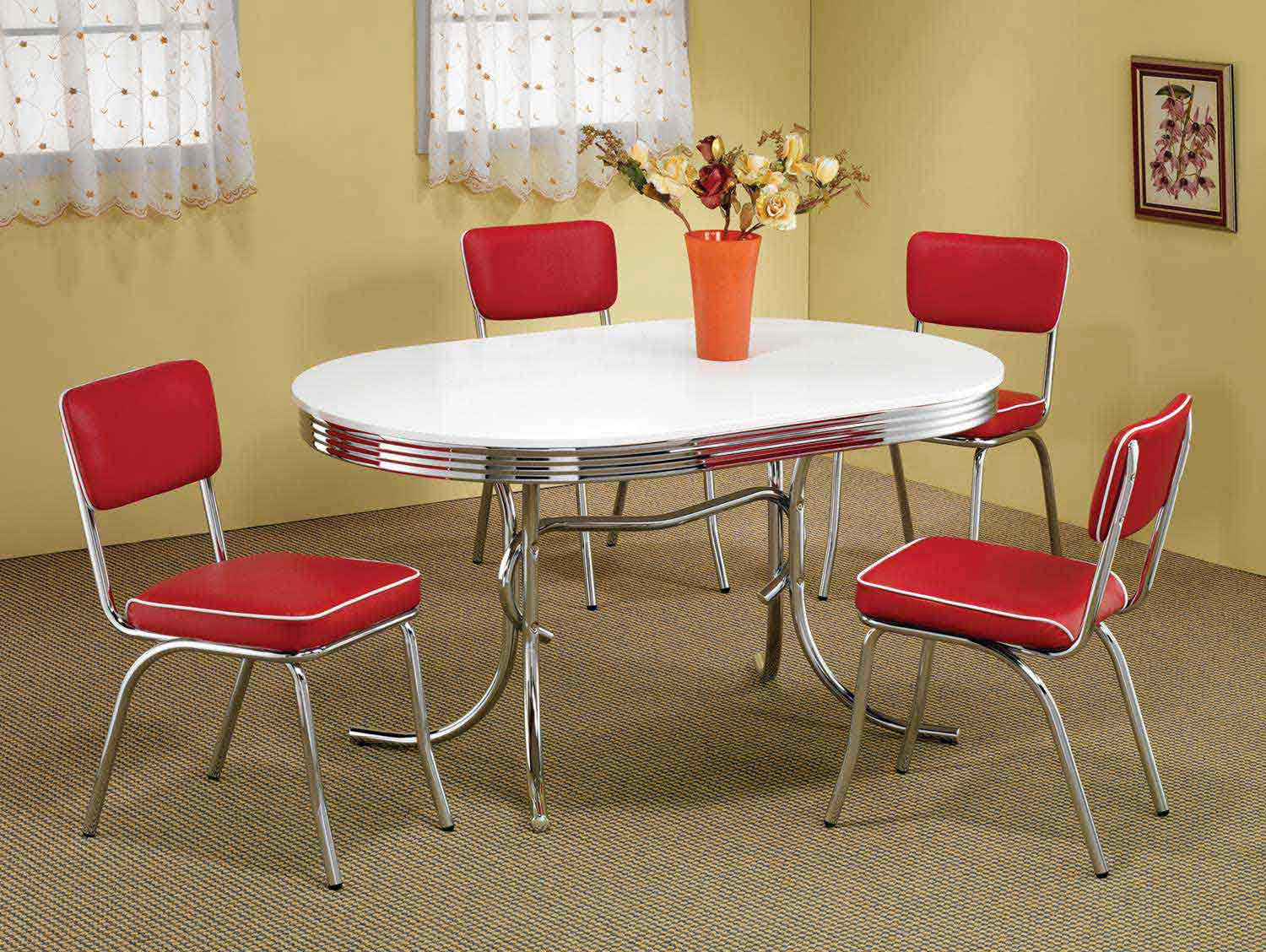 Coaster Mix & Match Oval Retro Dining Set - Red Chair