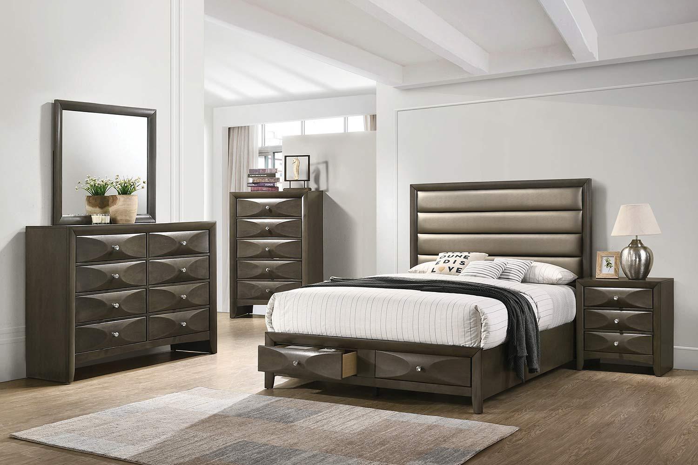 Coaster Salano Bedroom Set - Mod Grey/Bronze Leatherette