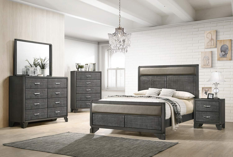 Coaster Noma Bedroom Set - Caviar/Grey Leatherette