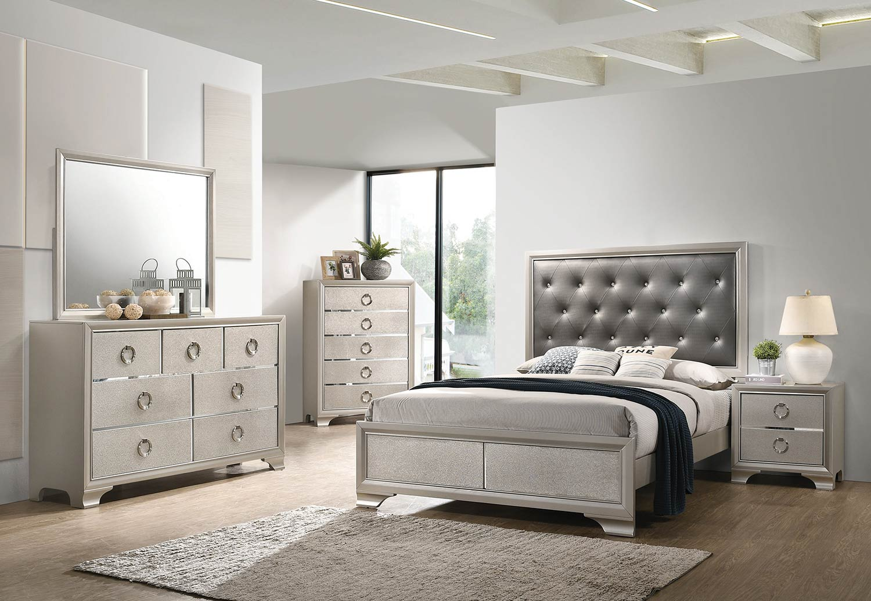 Coaster Salford Bedroom Set - Metallic Sterling/Charcoal Grey Leatherette
