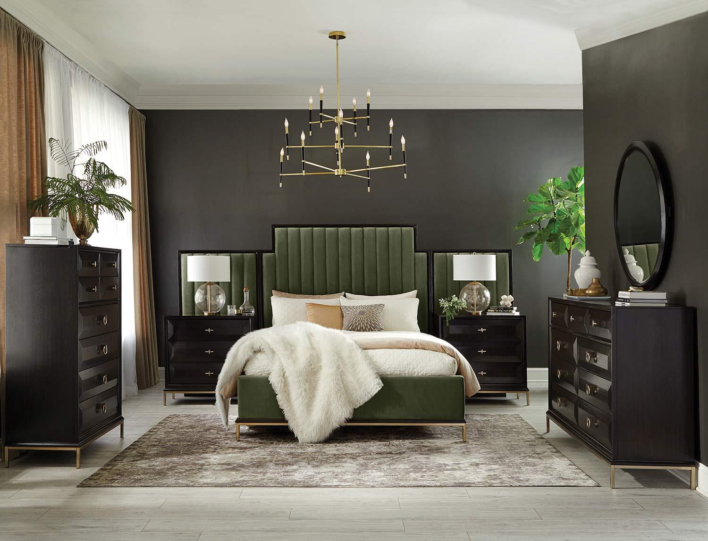 Coaster Formosa Bedroom Set - Americano/Dark Moss Velvet