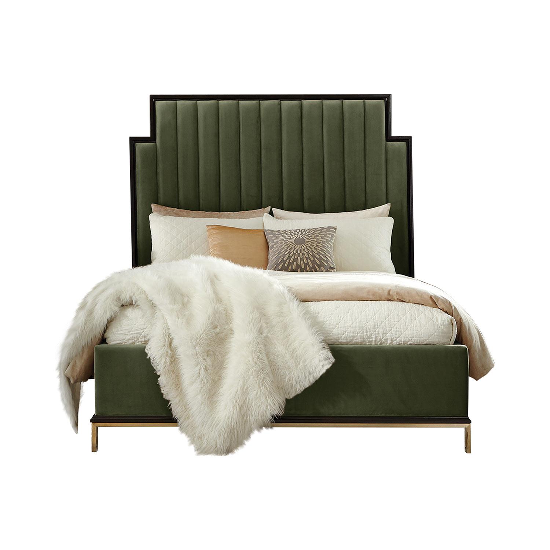 Coaster Formosa Bed - Americano/Dark Moss Velvet