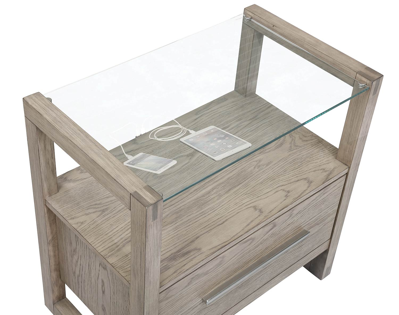 Coaster Smithson Nightstand Glass Top - Grey Oak