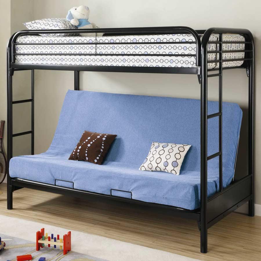 coaster 2250k twin futon bunk bed black 2250k at