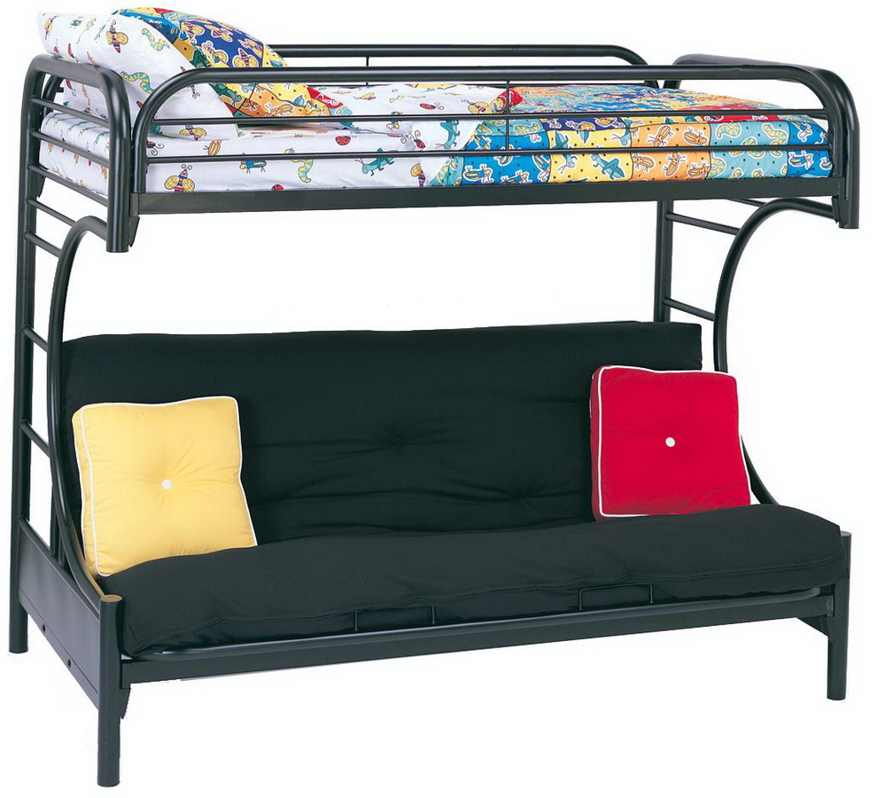 coaster 2253k twin futon bunk bed black 2253k at