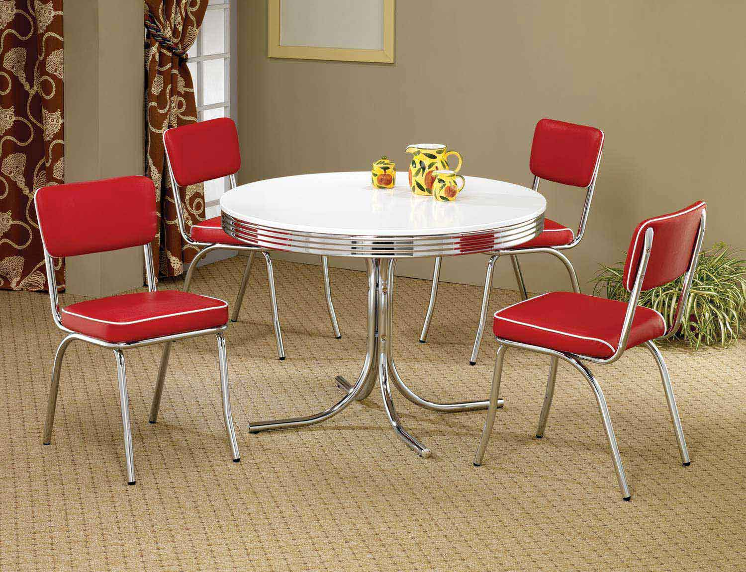 Coaster Mix & Match Round Retro Dining Set - Red Chair
