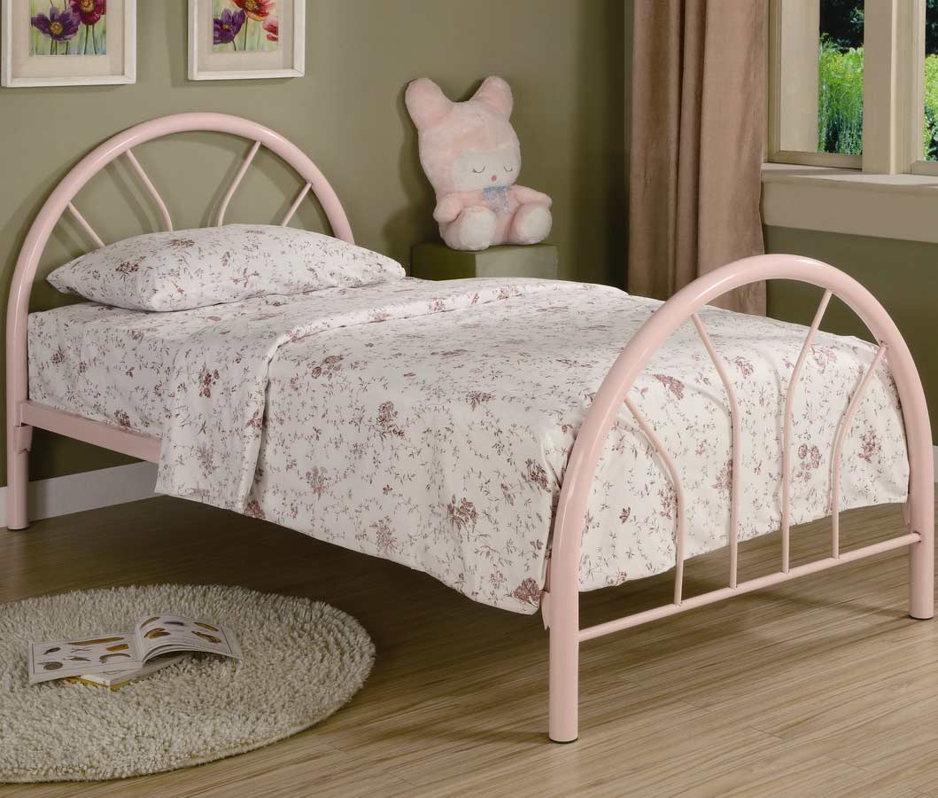 Coaster 2389P Twin Metal Bed - Pink