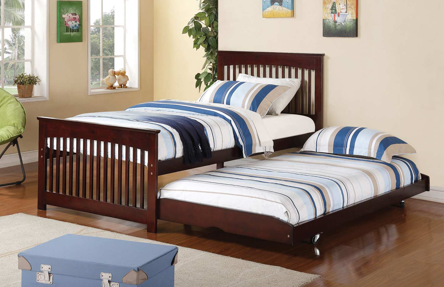 Coaster salinas twin bed with pop up trundle cappuccino for Furniture 4 less salinas