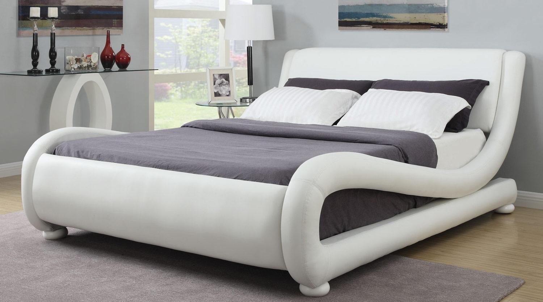 Coaster Kingsburg Upholstered Platform Bed - White