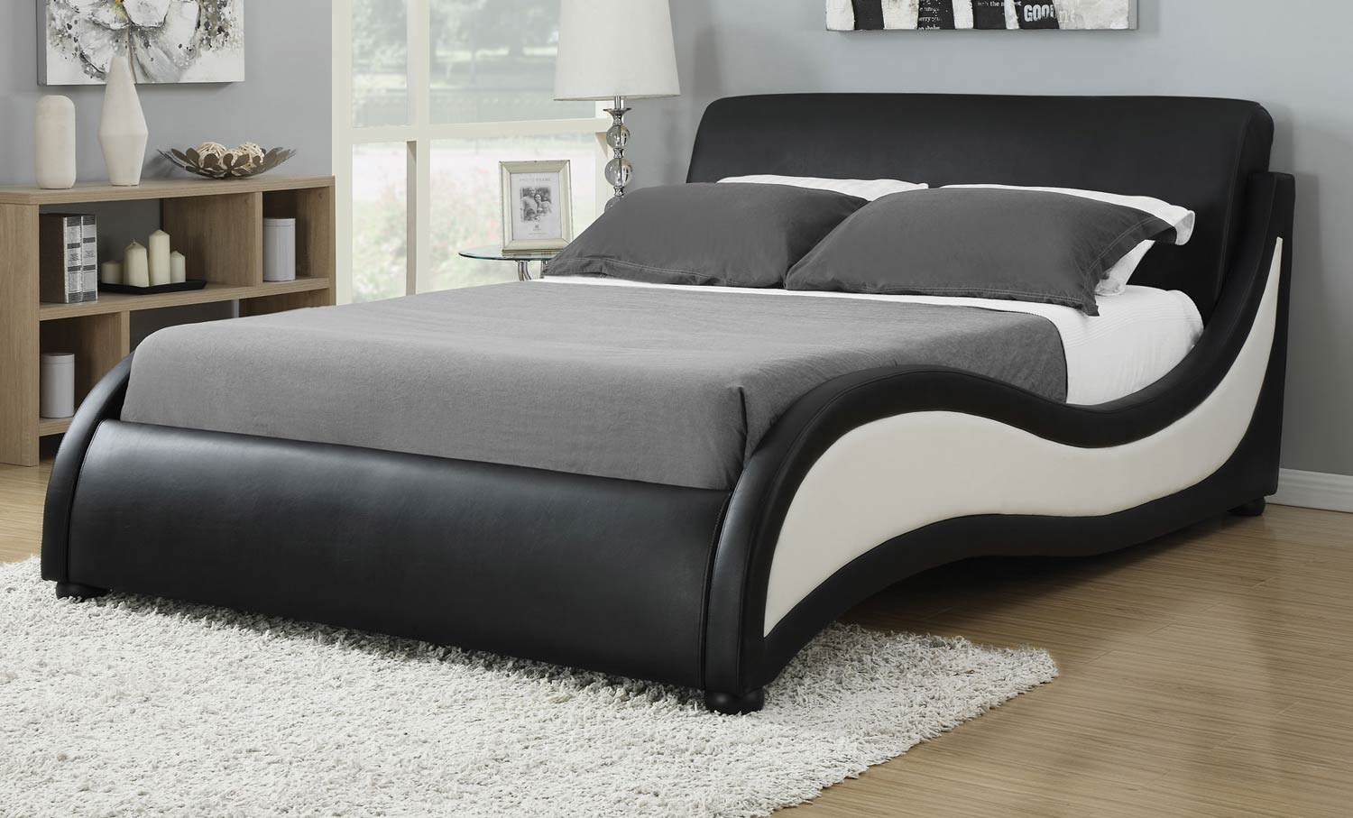 Coaster Niguel Upholstered Platform Bed - Black/White