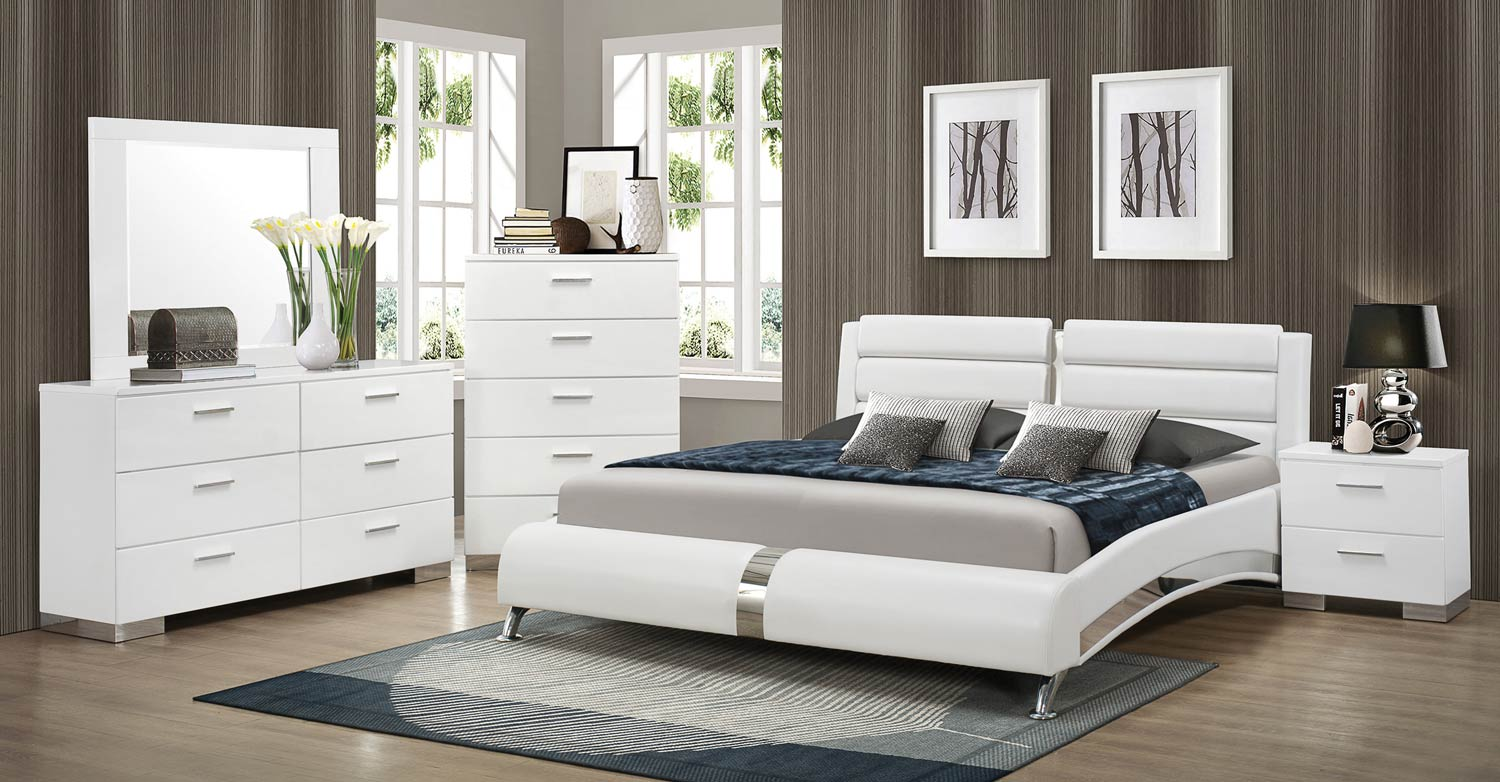 Coaster felicity platform bedroom set white 300345 bed for Bed and bedroom sets