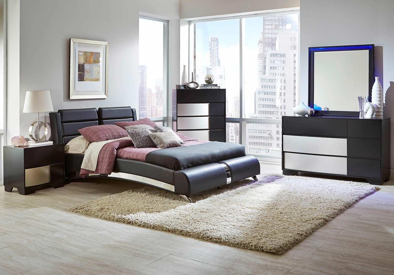 coaster havering upholstered platform bedroom set black 300350 bedroom set at. Black Bedroom Furniture Sets. Home Design Ideas